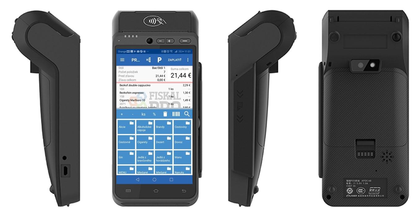 FiskalPRO A8 eKasa s aplikaciou Posmobil z kazdej strany