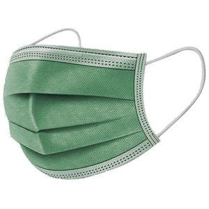 Ochranné rúška ZELENÉ jednorazové 3-vrstvové vysokej kvality z netkanej textílie - 50 kusov